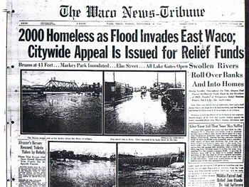 The front page of the Waco News-Tribune in 1936