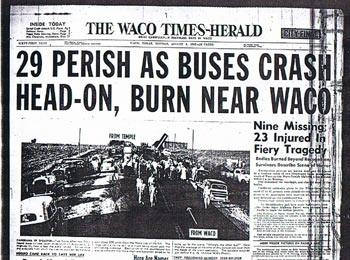 The front page of the Waco Times-Herald on August 4, 1952